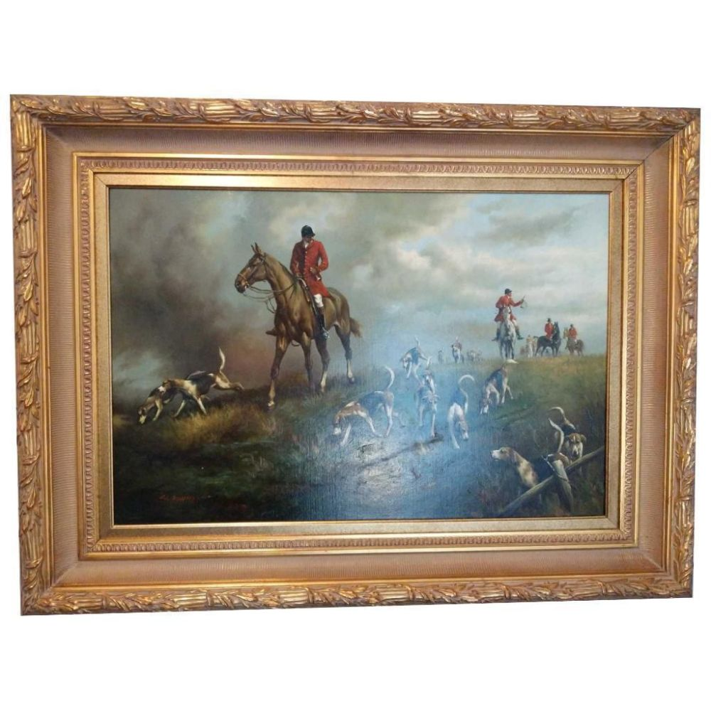 "Original G. Blumen Oil On Canvas ""The Hunt"""
