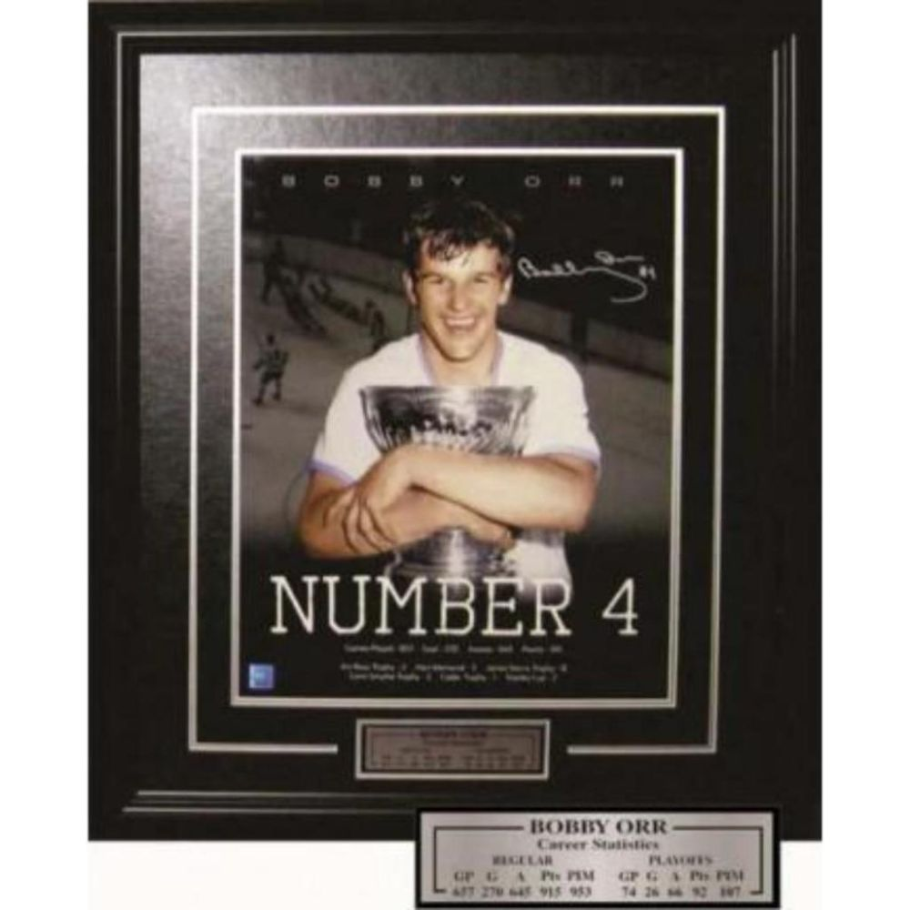 Lot 520: Bobby Orr #Number 4 Stanley Cup - Young Orr Autograph Cup Win