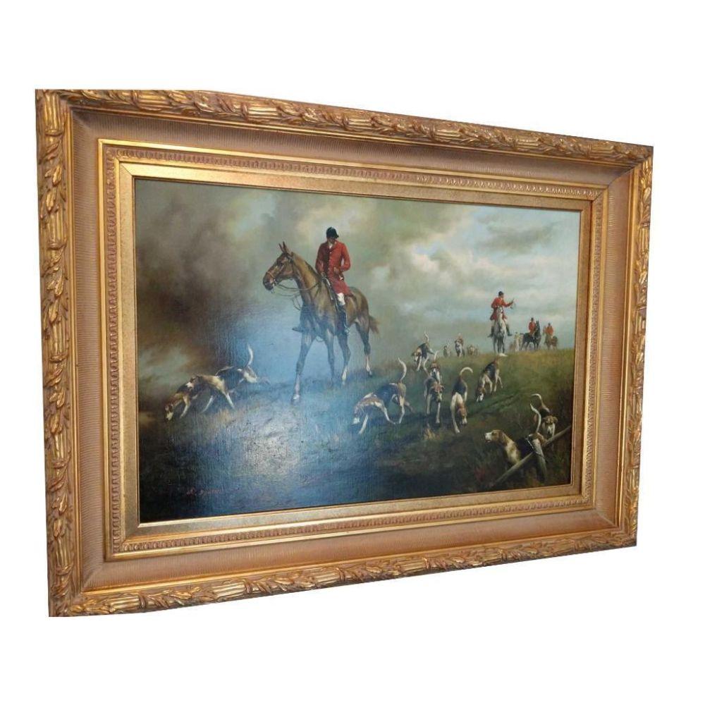 "Lot 519: Original G. Blumen Oil On Canvas ""The Hunt"""