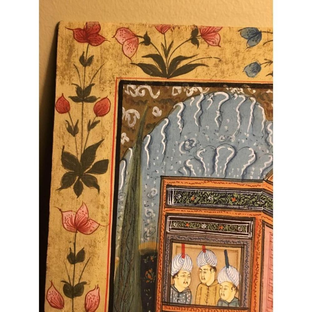 Lot 523: Fabric Painted Art In Hand Painted Floral Pattern Frame