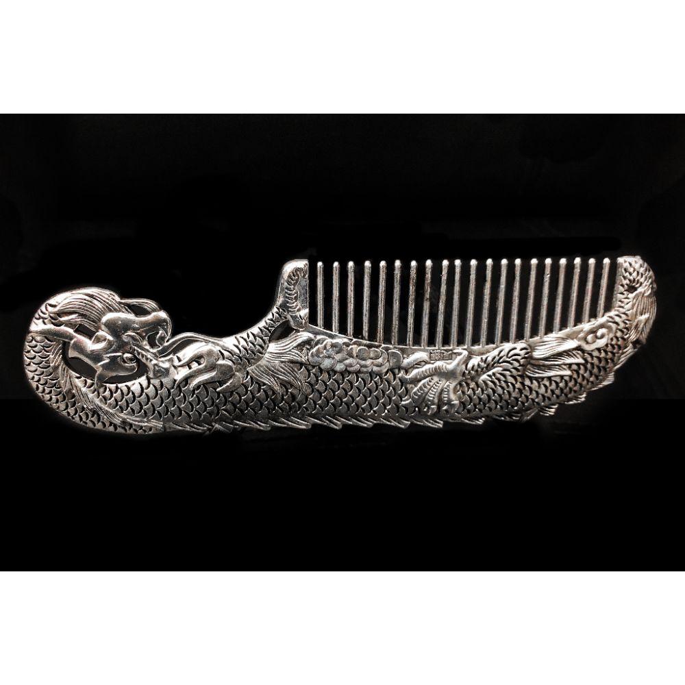 Tibetan Silver Chinese Dragon Comb