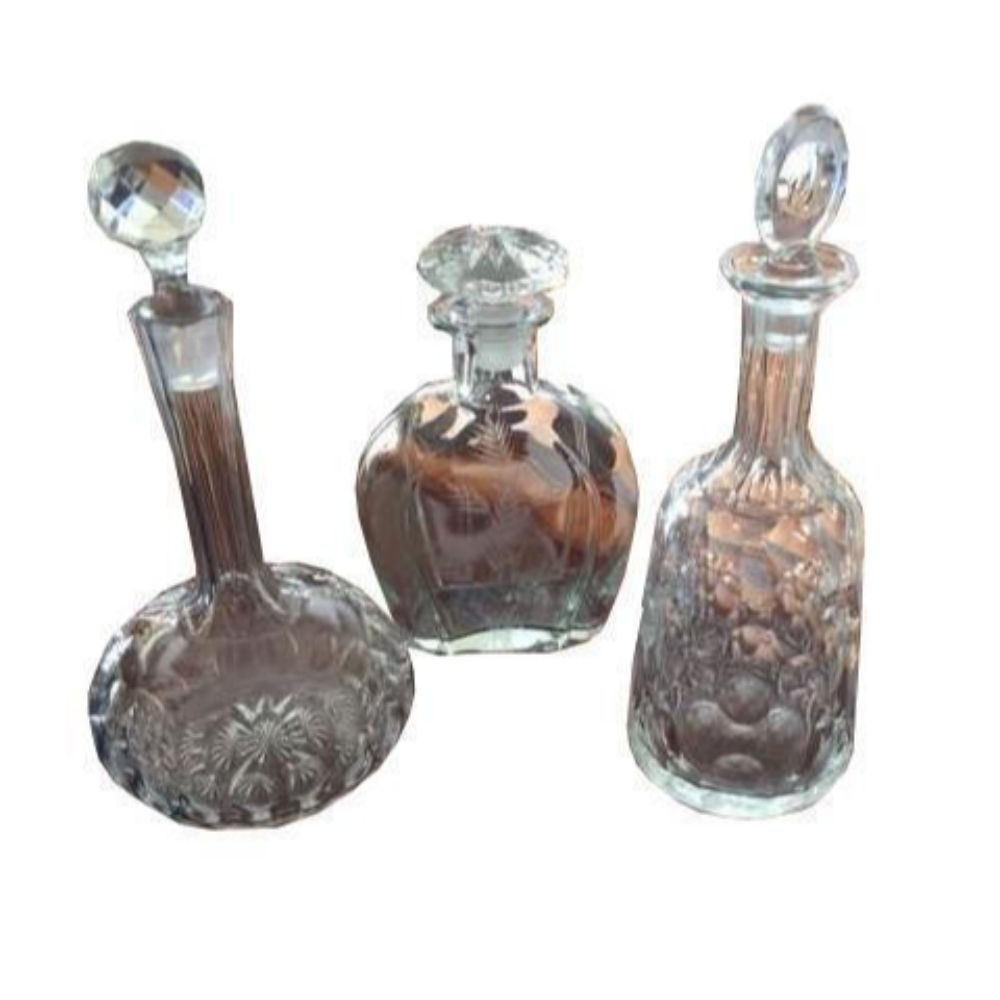 Set Of 3 Crystal Decanters