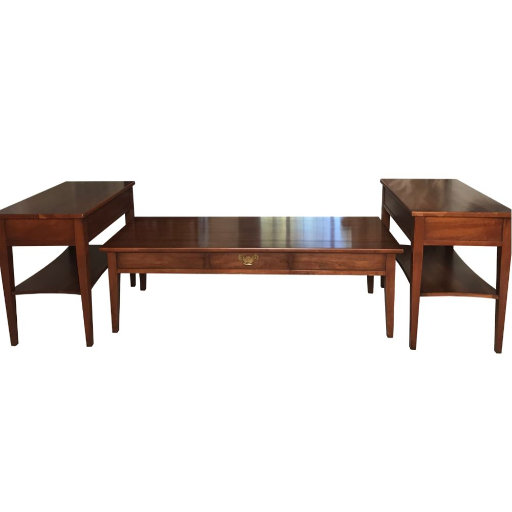 Premiere Henkel-Harris Coffee Table With Matching 2 Tier Henkel Side Tables