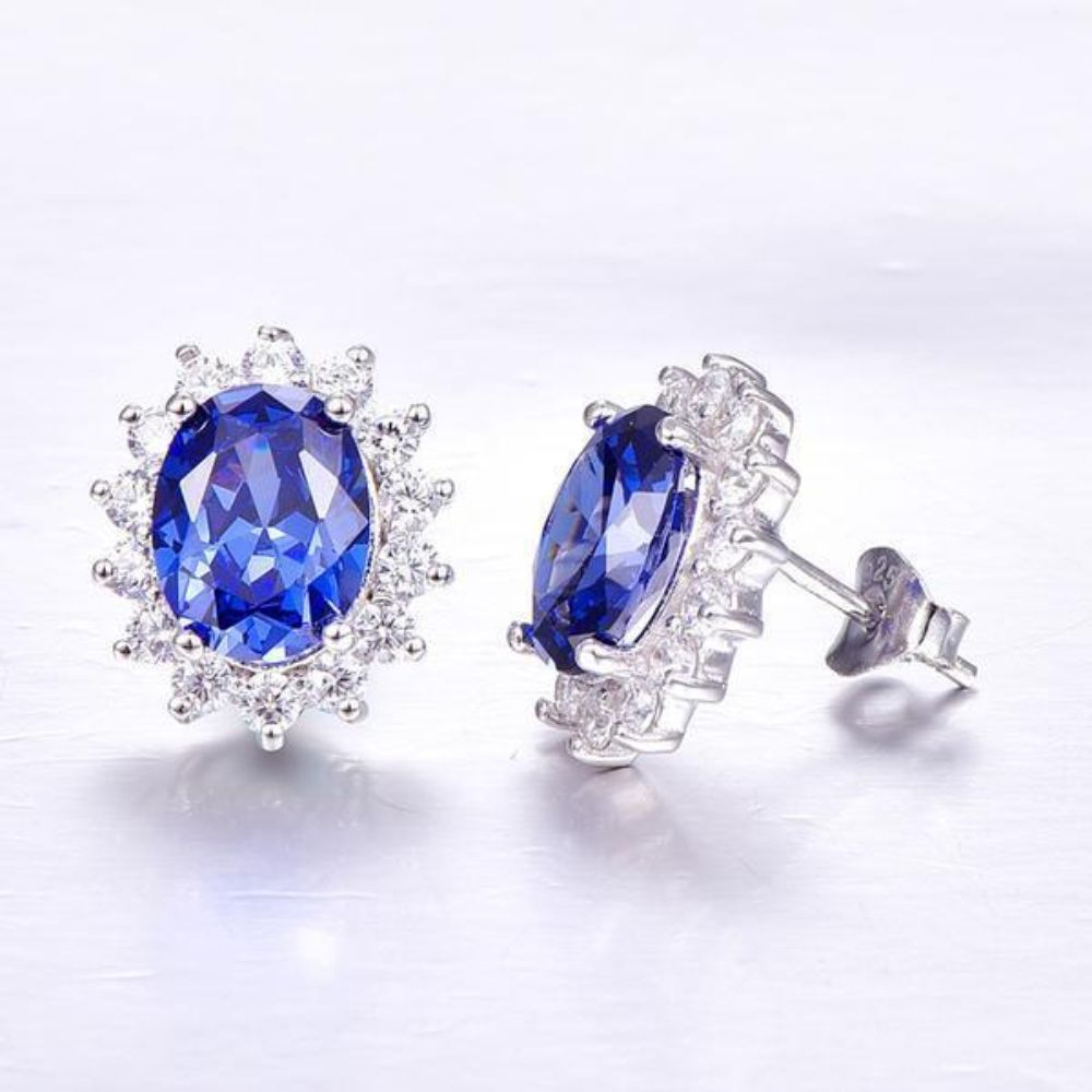 Blue 3ct Tanzanite Earrings - Luxury Kate Princess Diana 925 Sterling Silver Studs