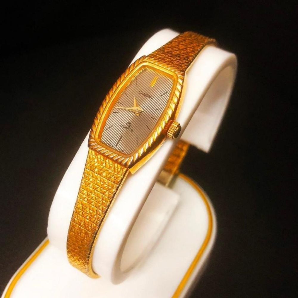 Slim Design Ladies Cardinal Gold Tone Wrist Watch