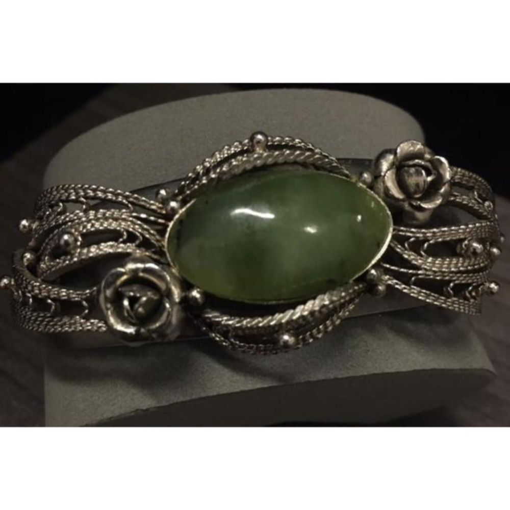 Vintage Natural Jade and Sterling Silver Engraved Bangle