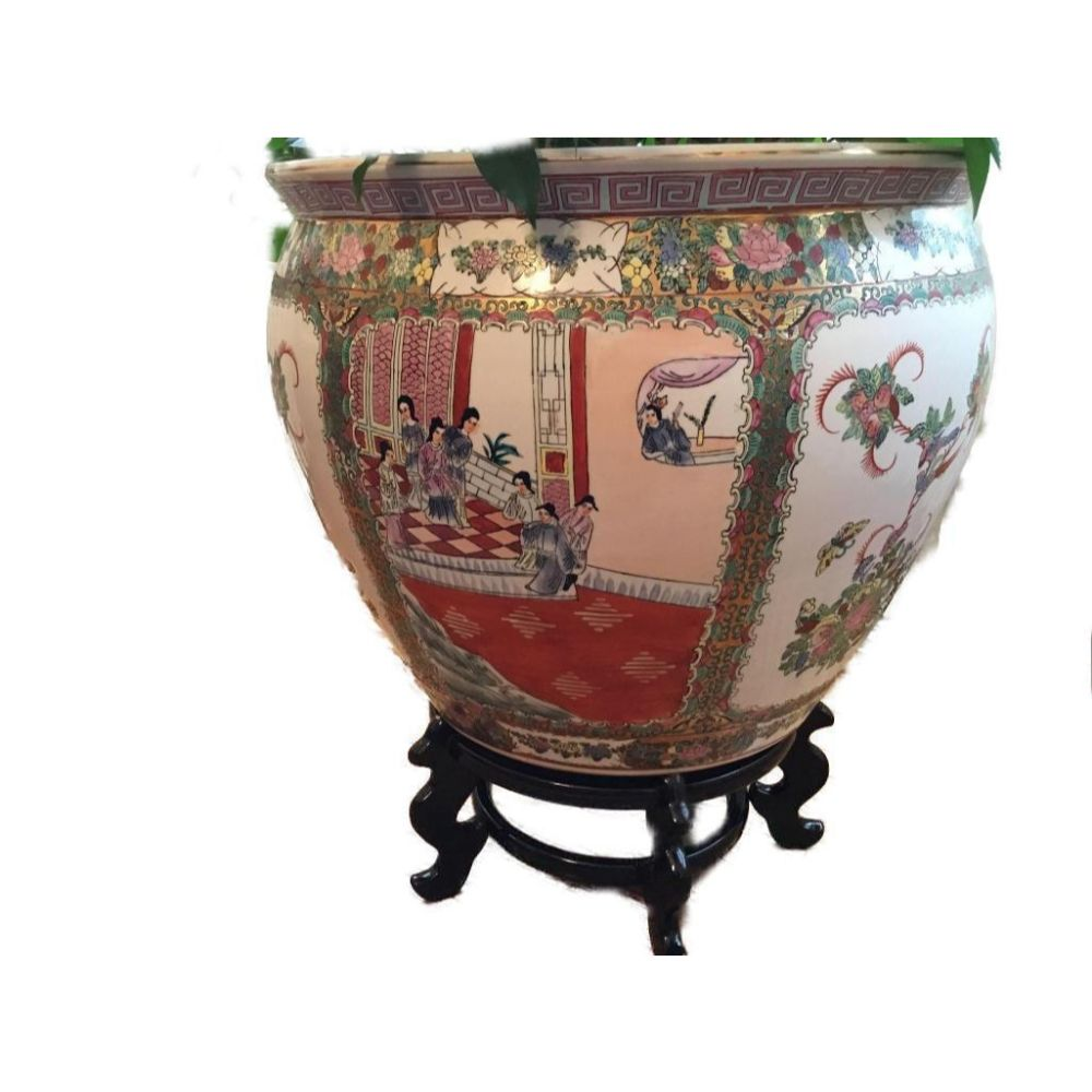 Large Asian Famille Rose Jardiniere With Floral & Figurative Motif & Stand