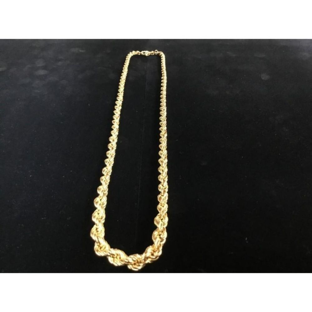 Ladies 14K Solid Yellow Gold Custom Made Tapered Rope Braided Necklace (11.7grams)