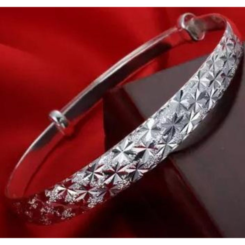 "Ladies 925 Silver Cross Cut ""The Sky Star"" Bracelet Bangle"