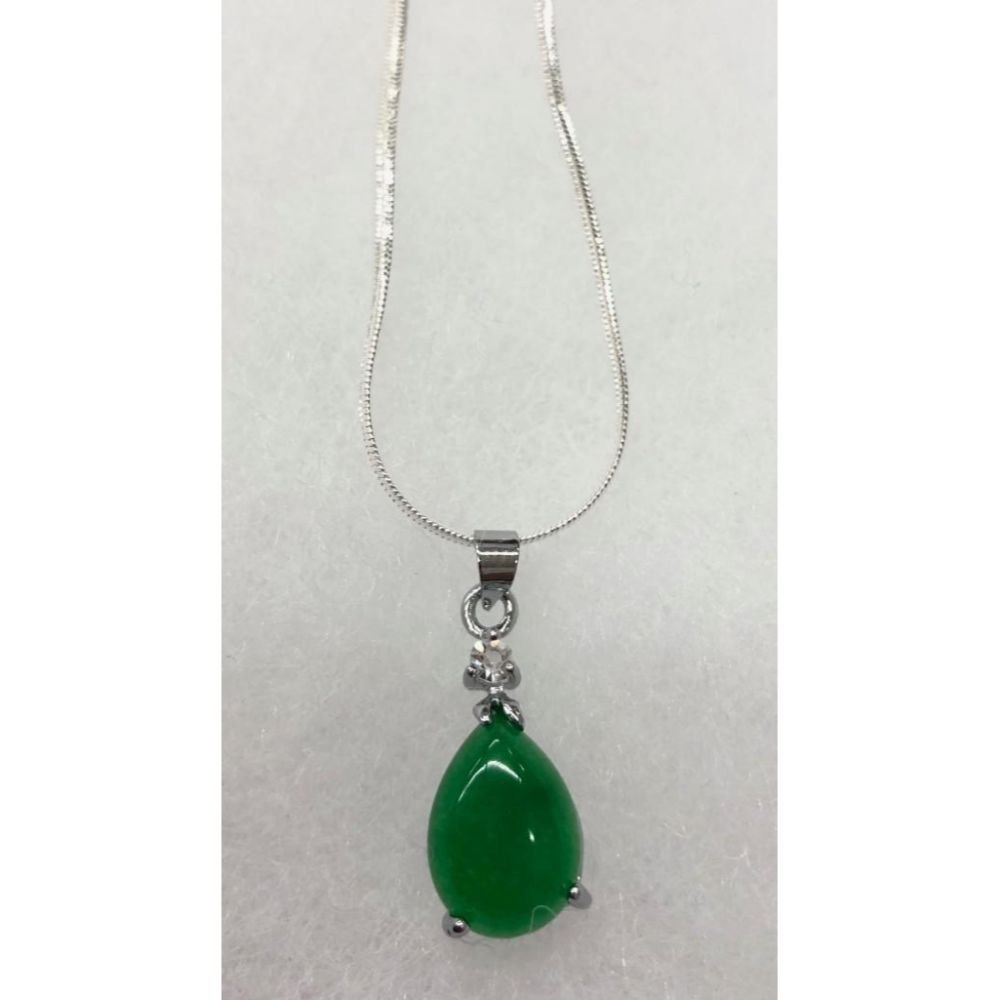 Chinese Green Jade Tear Drop On 925 Necklace