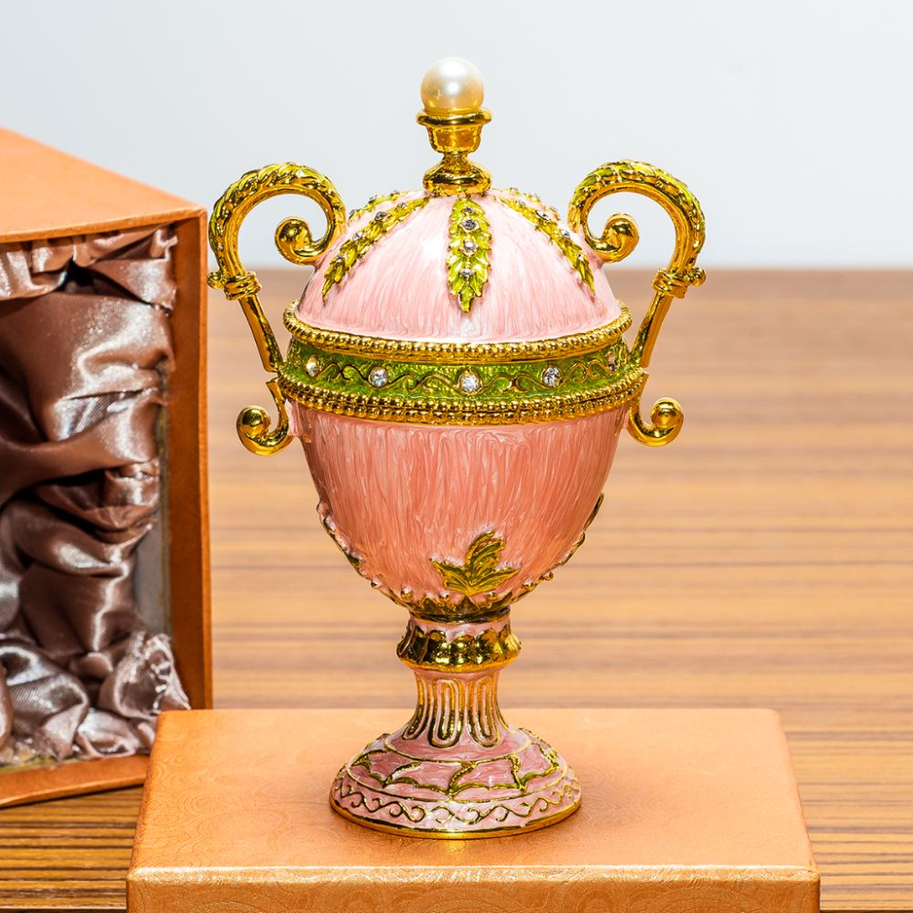 "5.5"" Pink Amphora Enameled Royal Inspired Russian Egg Figurine"