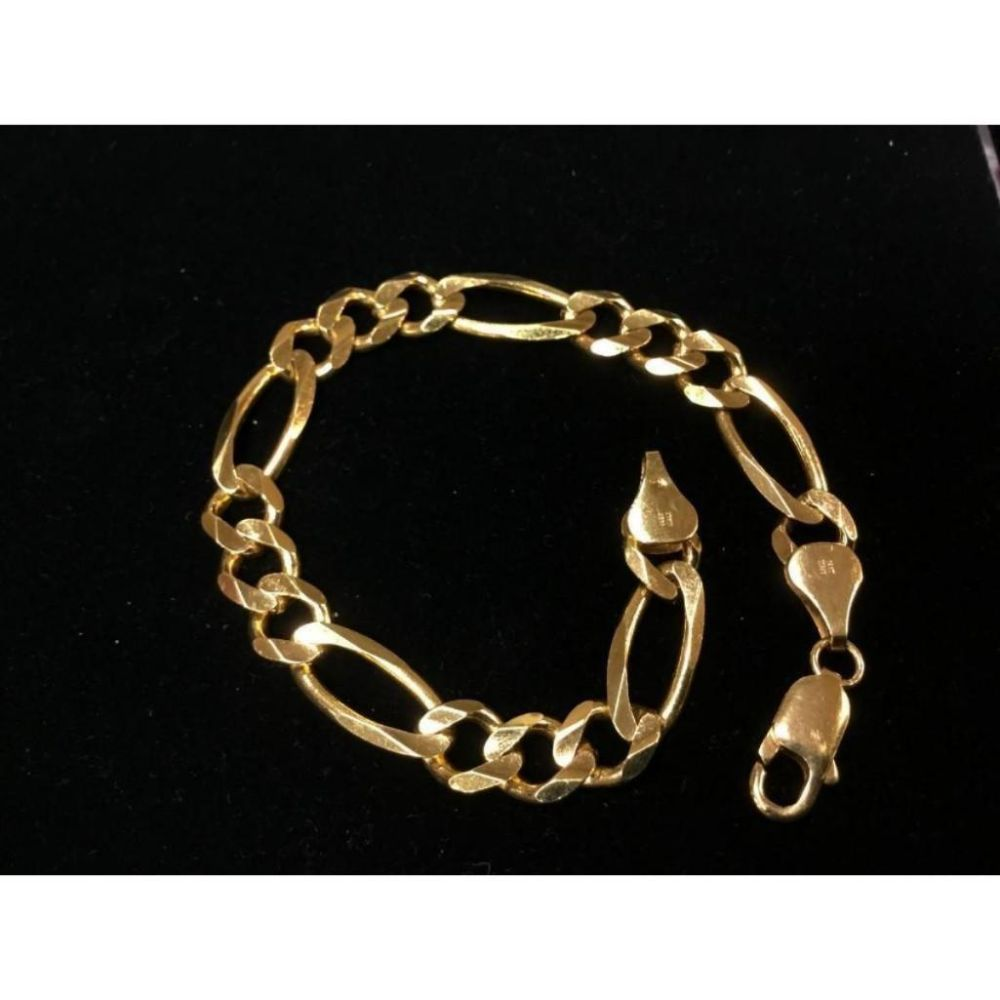 Italian Made 14K Solid Yellow Gold Figaro Link Bracelet