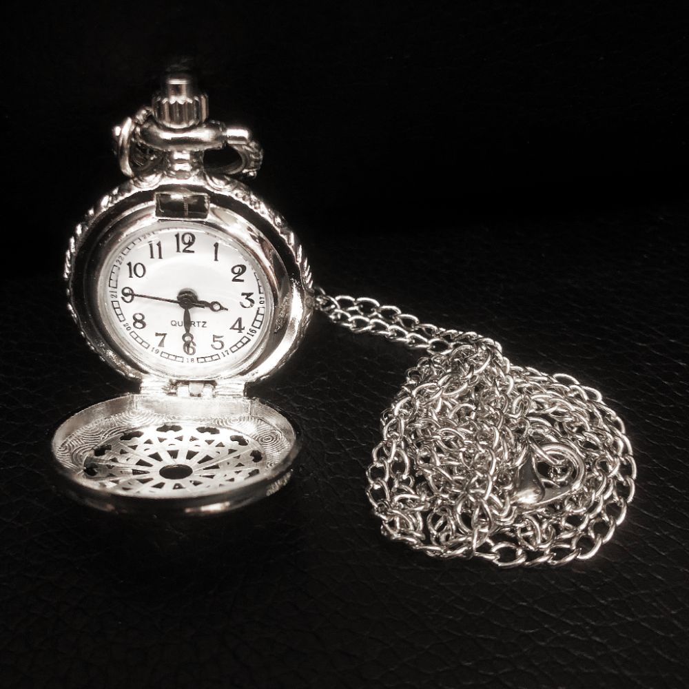 Elegant Silver Tone Watch Pendant Necklace