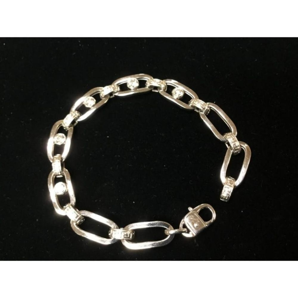 Exquisite Italian 14K White Gold Custom Designed Bracelet with 2ct Diamonds