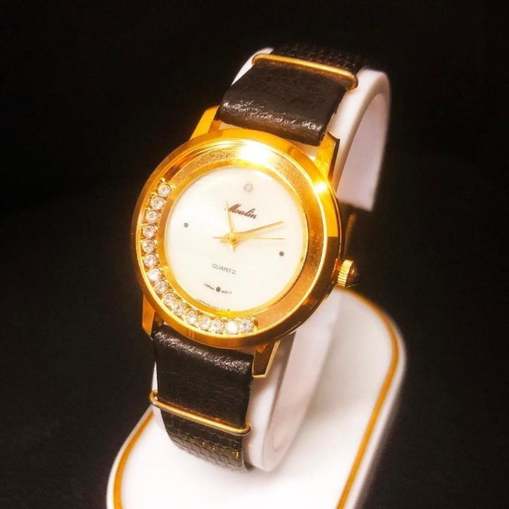 Womans Moulin Mother Of Pearl Dial Gold Tone Watch