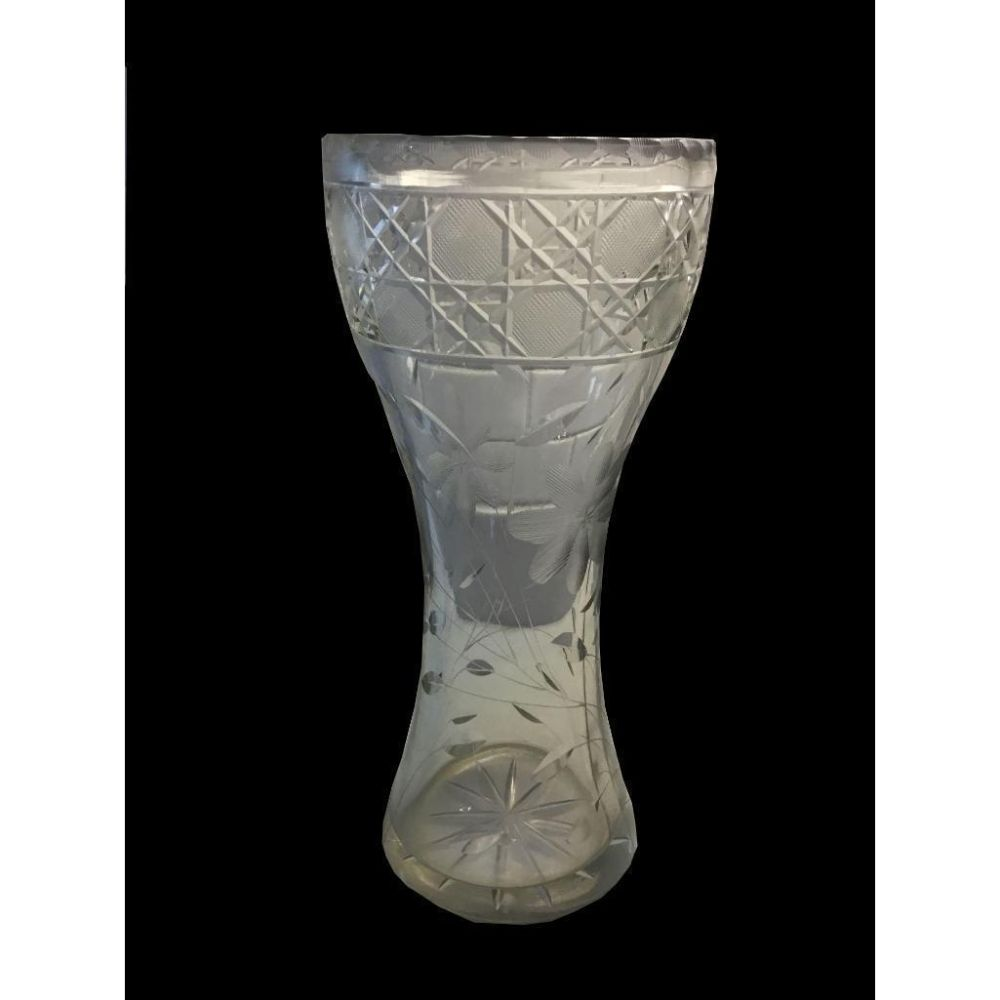 Etched & Cut Crystal Flower Vase