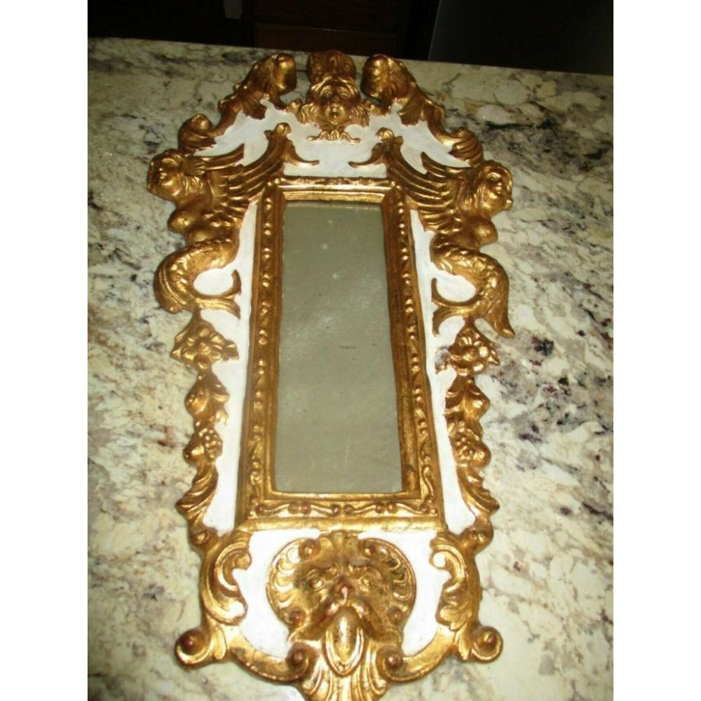 Vintage Ornate Gold Gilt Rococo Italian Florentine Mirror With Griffins & Cherubs