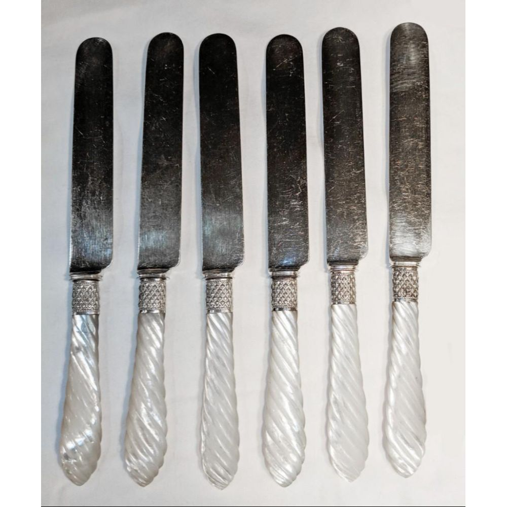 Set Of 5 Mother Of Pearl Handled Luncheon Knives