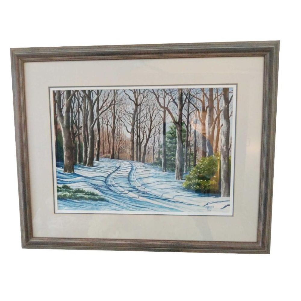 Winter Country Road Signed By Spencer Ellis 1979