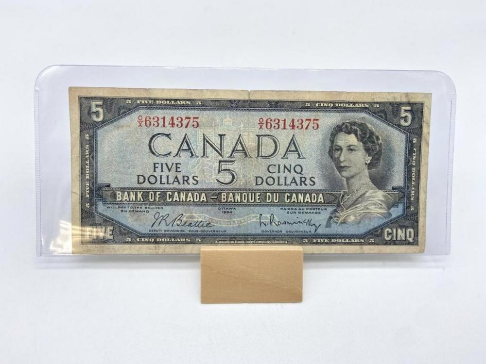 1954 BANK OF CANADA $5.00 NOTE WITH MODIFIED PORTRAIT