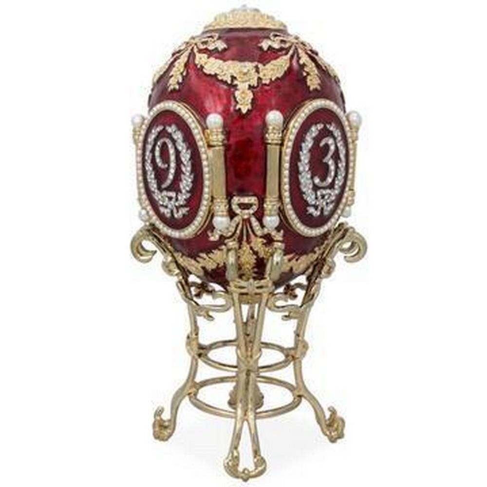 1893 CAUCASUS ROYAL RUSSIAN INSPIRED ENAMELED & AUSTRIAN CRYSTAL EGG