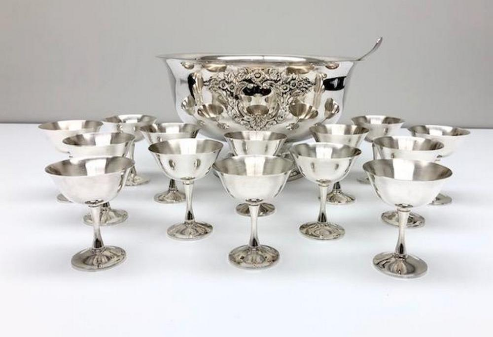 Silver Plated Celebratory Punch Bowl Set With 14 Cups