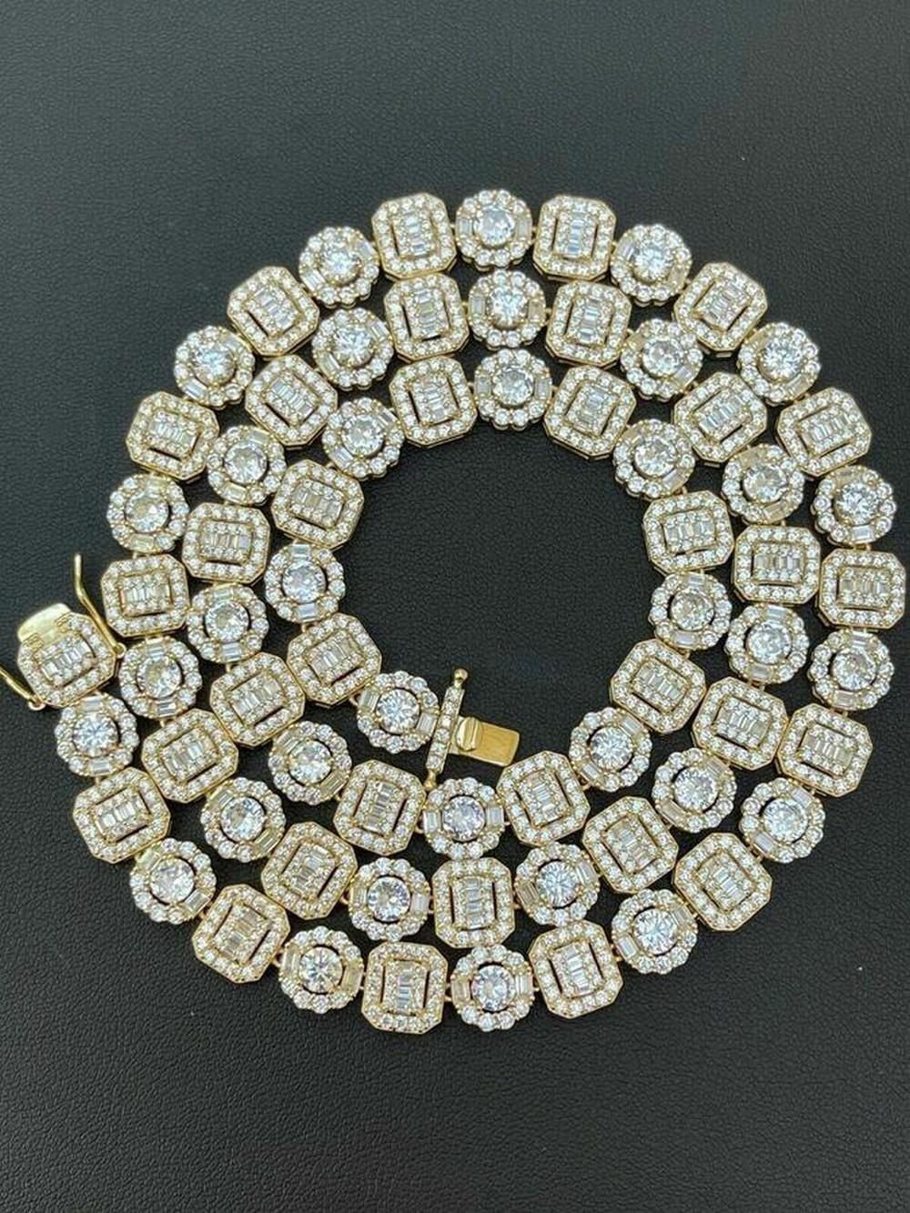 """20"""" Baguette Tennis Chain With 14K Gold Over Solid 925 Silver"""