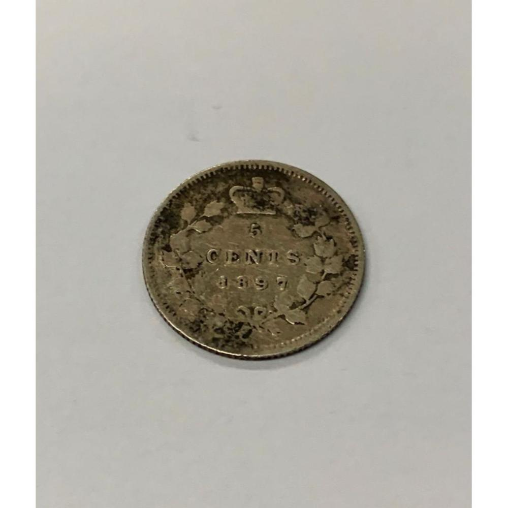 1897 Canadian Grade VG 5 Cent Coin