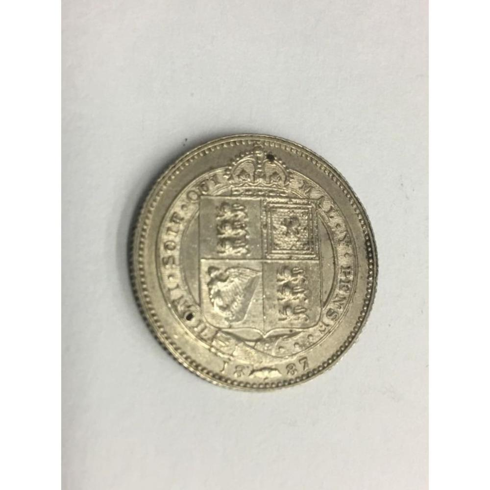 United Kingdom GB 1887 Shilling Queen Victoria British Silver Coin