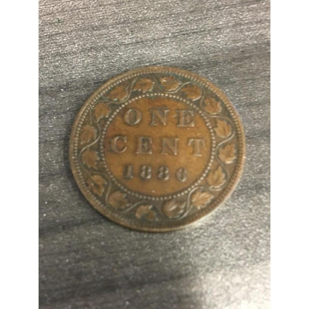 1886 EF40 Canadian One Cent Coin