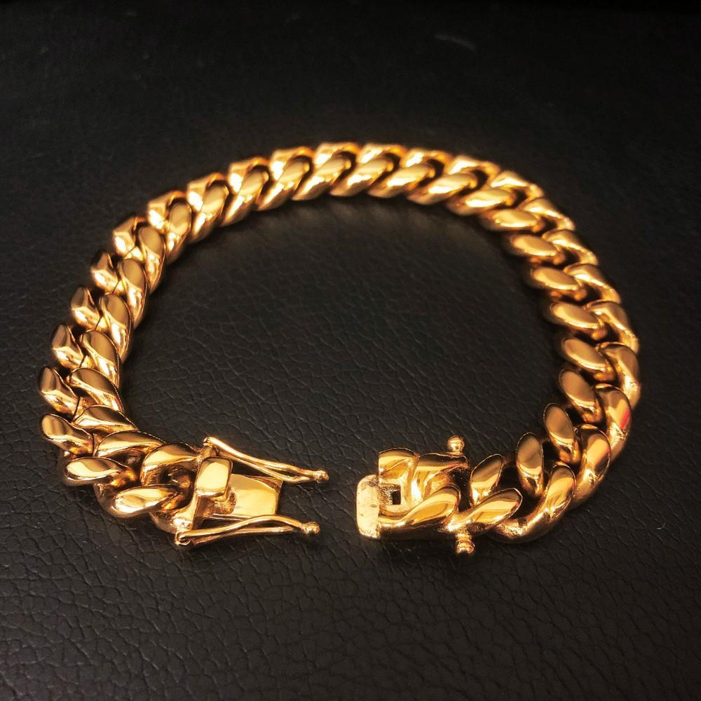Mens 18K Gold Plated Cuban Link Bracelet