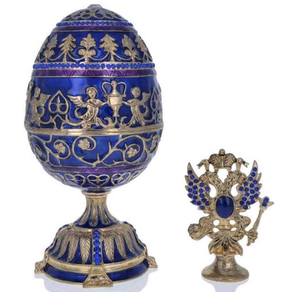 """1912 Tsarevich Faberge Inspired Egg 5.5"""""""