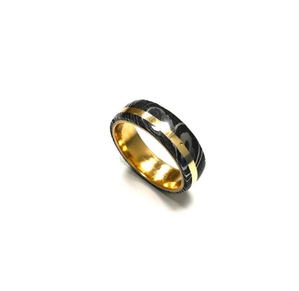 Men's Damascus Steel Wedding Band With Brass Coloured Inlay & Liner