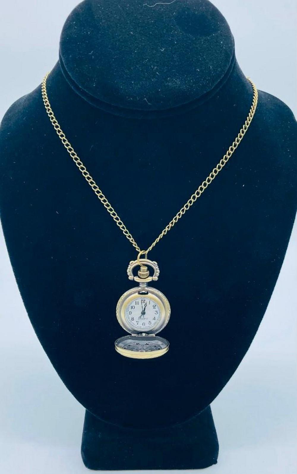 Elegant Bronze Tone Watch Pendant Necklace