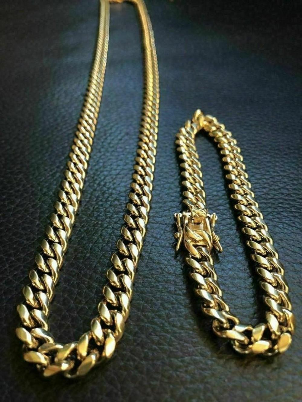 8MM Men's Cuban Miami Link Bracelet & Chain Set! 14k
