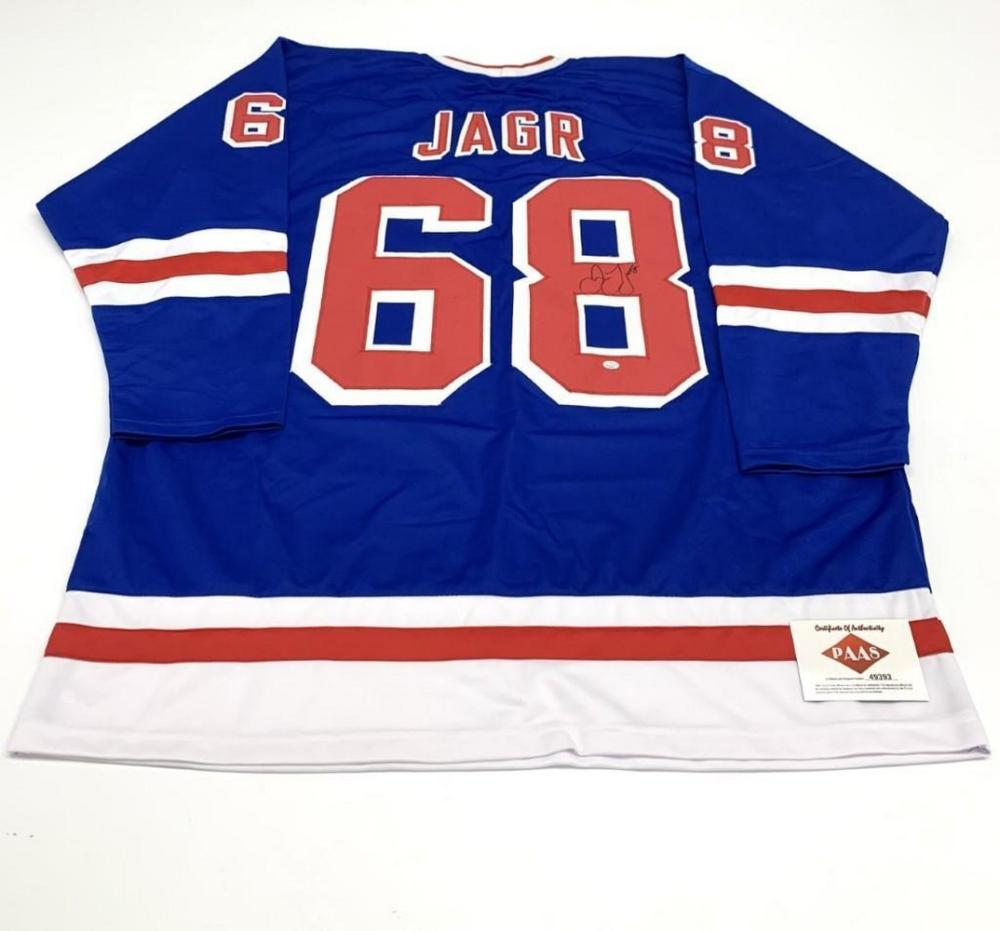 Authentic Autographed Jaromir Jagr #68 New York Rangers Home Jersey with COA