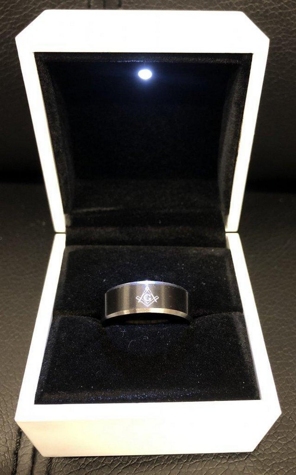 Mens Titanium Steel Black And Silver Ring