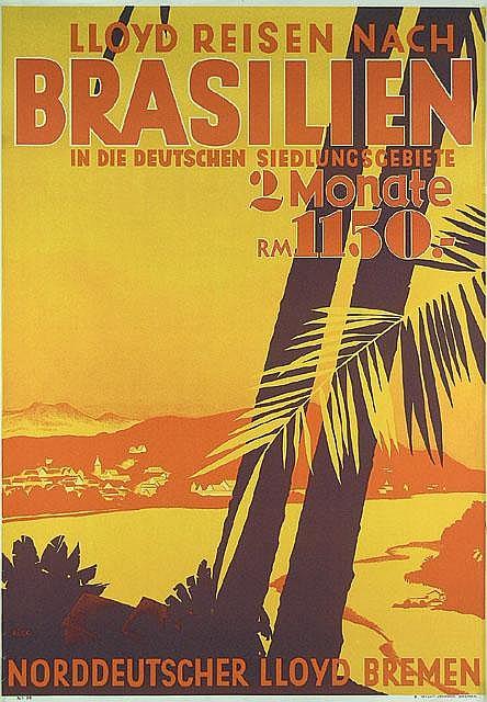 NDL - Lloyd Reisen nach Brasilien Travel Poster / Plakat