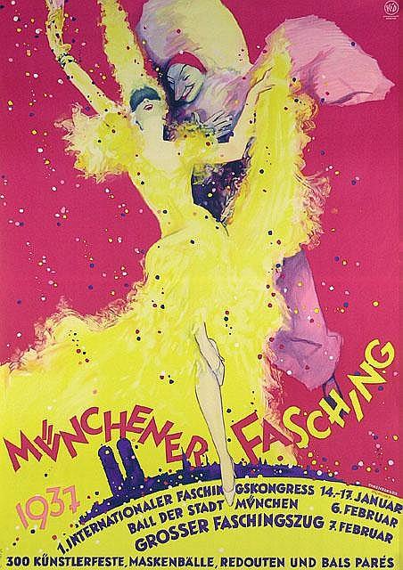 Münchener Fasching Carnival Poster / Plakat 1930s