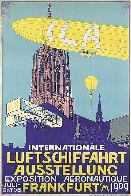 ILA Frankfurt Travel Aviation Zeppelin Poster / Plakat