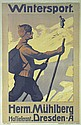 Original 1900s German Ski Wintersports Poster