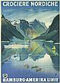 Original 1930s HAPAG Fjord Ship Travel Poster