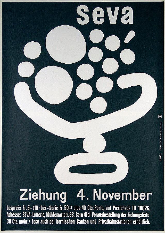 Original 1950 Seva Swiss Design Poster Plakat