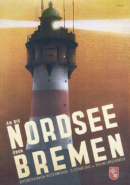 Original German Nordsee Travel Poster Plakat 1934