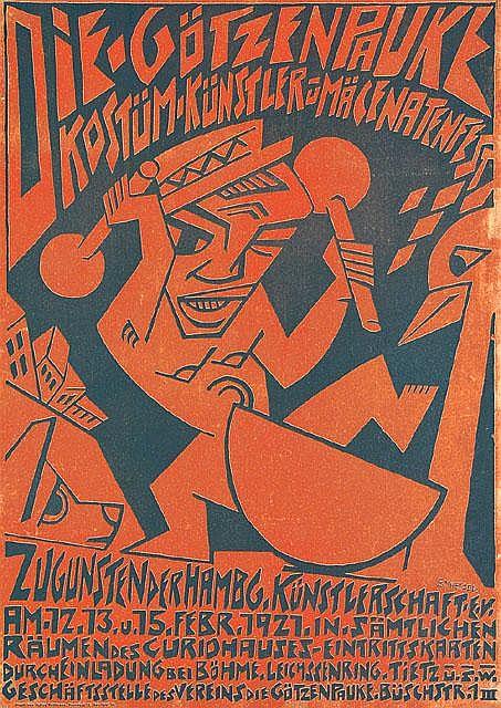 Original 1921 Deutsches Plakat Goetzenpauke