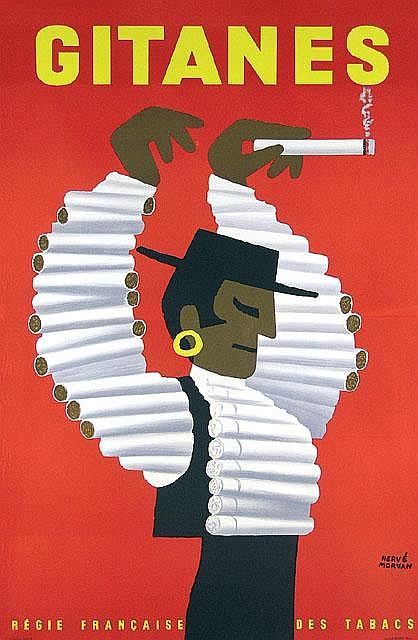 Original 1960 HERVE MORVAN Gitanes Plakat Poster
