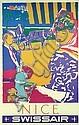 Original 1950s HENRI OTT Swissair Travel Poster NICE, Henri Ott, Click for value