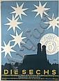 Original 1910s HEUBNER Art Die Sechs Poster Plakat, Friedrich Heubner, Click for value