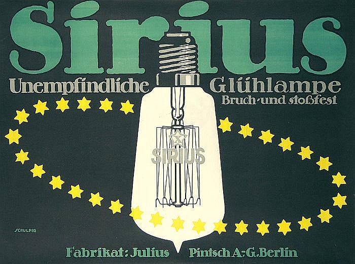 ARE Original 1912s Germany SIRIUS LIGHT BULB Poster