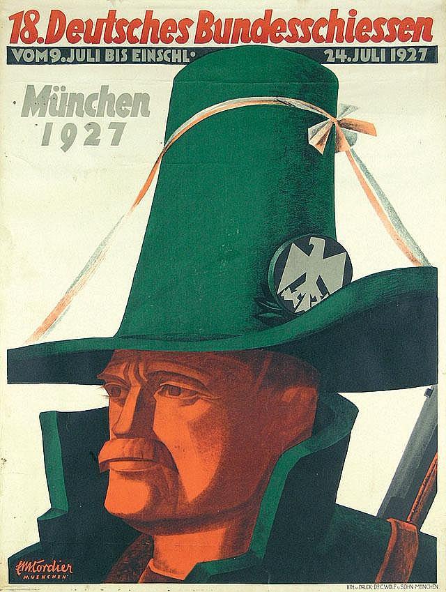 Original 1927 Bundeschiessen Plakat Poster Munich